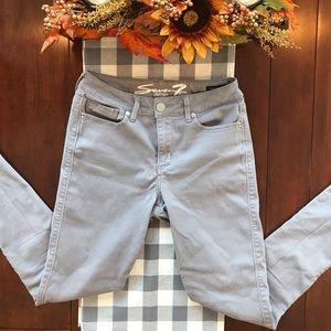 Seven7  Size 8 Silver Denim High Rise Skinny Jeans